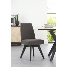 Brunel Gunmetal Upholstered Swivel Chair - Cold Steel (Pair)