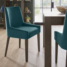 Ella Dark Oak Scoop Back Chair - Sea Green Velvet Fabric  (Pair)