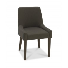 Ella Walnut Scoop Back Chair - Black Gold Fabric  (Pair)