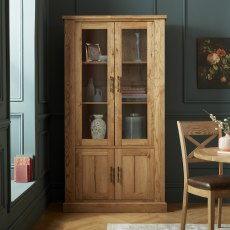 Westbury Rustic Oak Display Cabinet