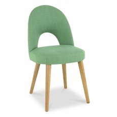 Oslo Oak Upholstered Chair - Aqua Fabric (Pair)